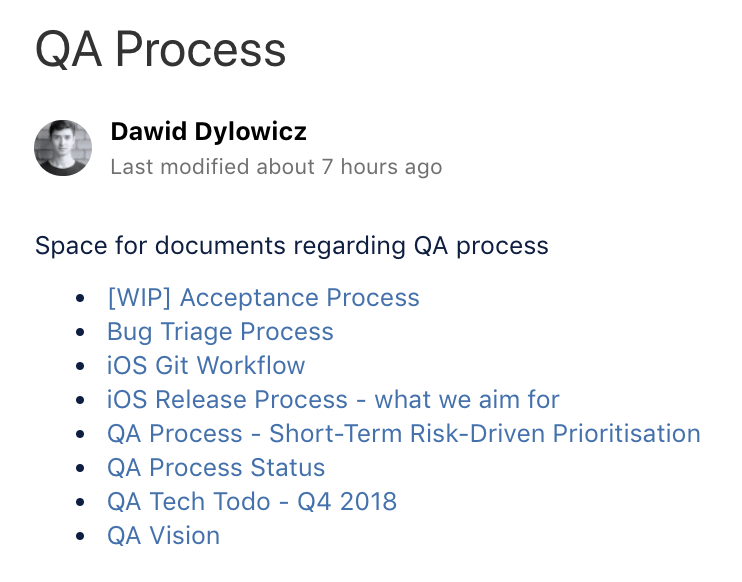 Current list of my documents about the QA process